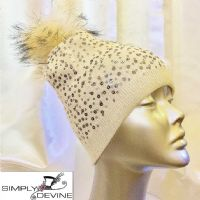 White sequin pom pom hat PA02